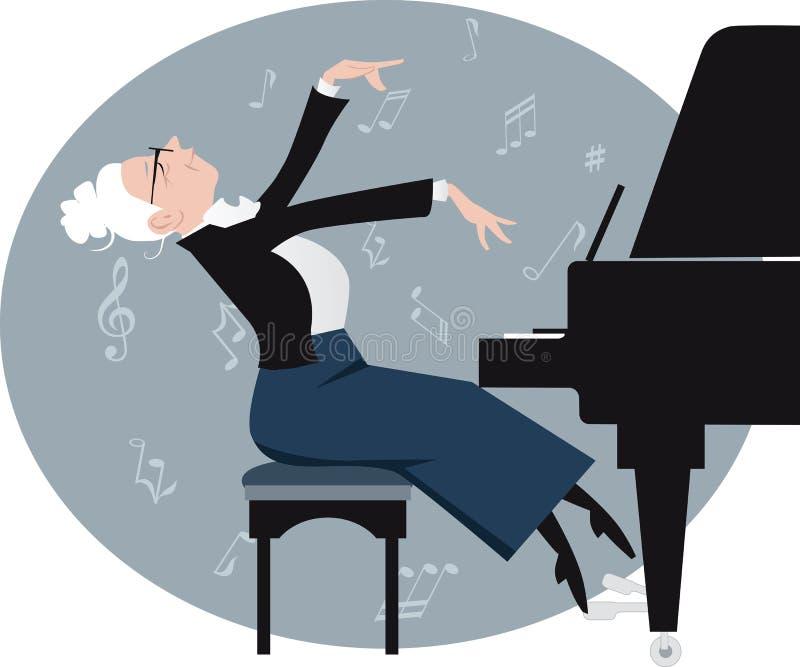 возмужалый игрок рояля иллюстрация вектора