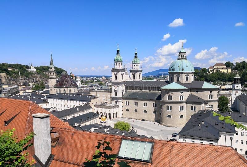 воздушный взгляд salzburg стоковое изображение rf