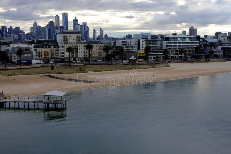 Воздушный городской взгляд ландшафта горизонта города Мельбурна стоковые изображения rf
