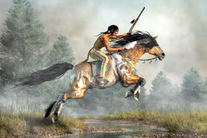 Воин на скача лошади иллюстрация вектора