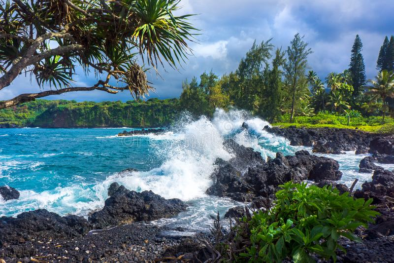 Волны на пляже Мауи утесов стоковая фотография