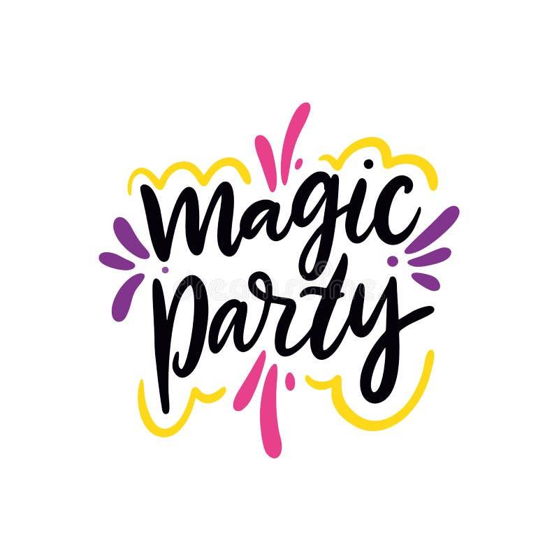 Волшебная партия Иллюстрация и литерность вектора руки вычерченные Тип шаржа Изолировано на предпосылке иллюстрация штока