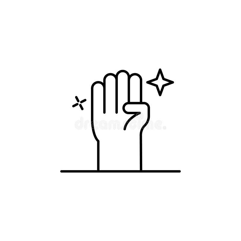 Волшебный значок плана руки зомби Знаки и символы можно использовать для сети, логотипа, мобильного приложения, UI, UX иллюстрация вектора