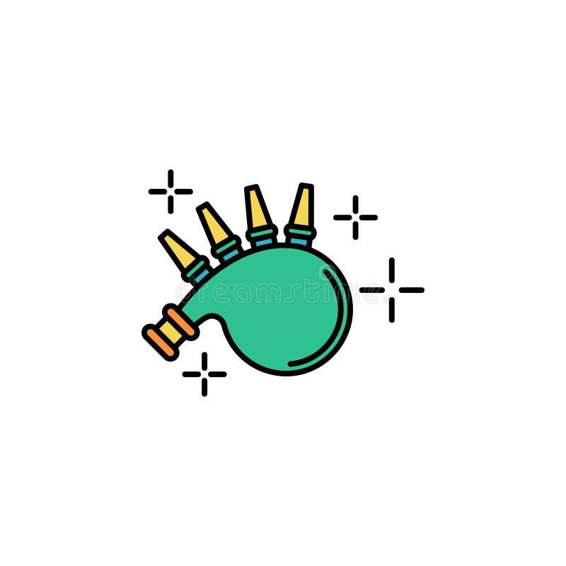 Волынки, зеленый значок Элемент значка дня St Patricks цвета Наградной качественный значок графического дизайна знаки и собрание  иллюстрация штока