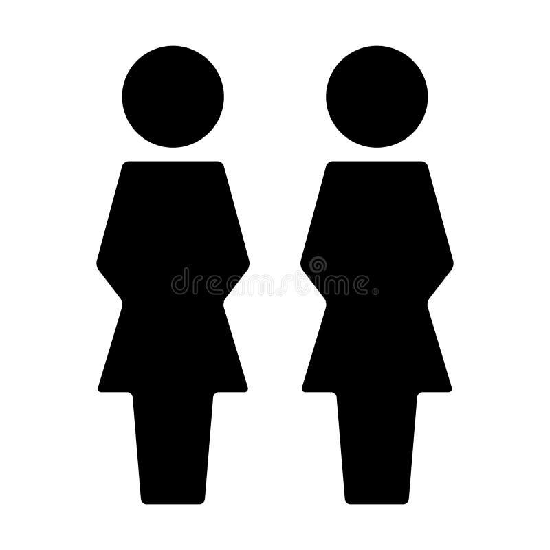 Воплощение символа группы людей вектора значка клиента женское для дела в плоской пиктограмме глифа цвета иллюстрация вектора