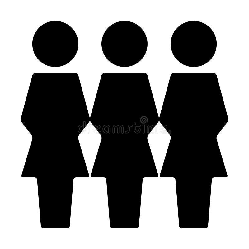 Воплощение символа группы людей вектора значка потребителей женское для людей руководства бизнесом в плоской пиктограмме глифа цв иллюстрация вектора