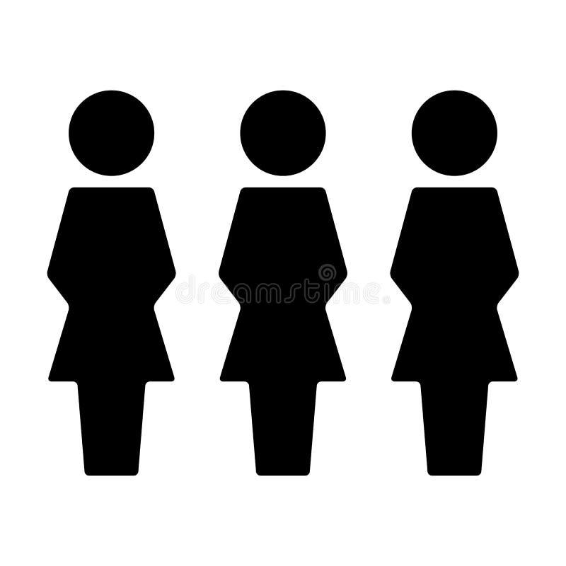 Воплощение символа группы людей социального вектора значка сети женское для людей руководства бизнесом в плоской пиктограмме глиф бесплатная иллюстрация