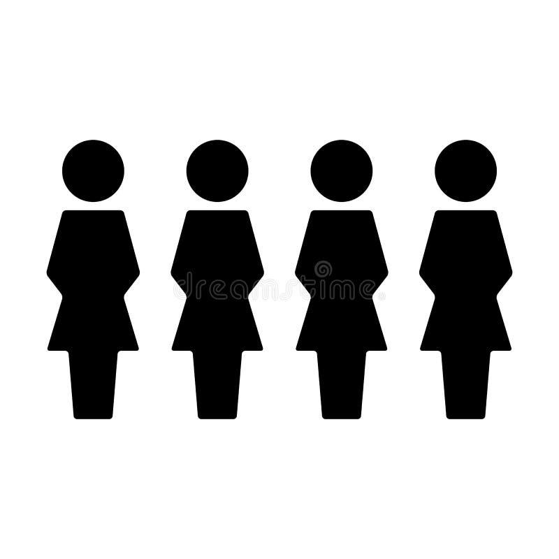Воплощение символа людей вектора значка группы женское для людей руководства бизнесом в плоской пиктограмме глифа цвета иллюстрация вектора