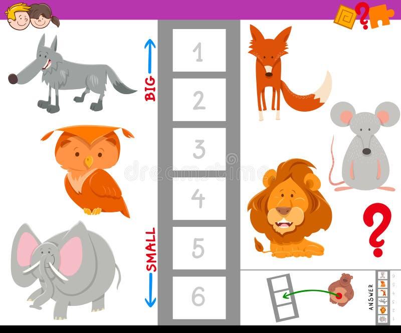 Воспитательная игра с большими и малыми животными иллюстрация штока