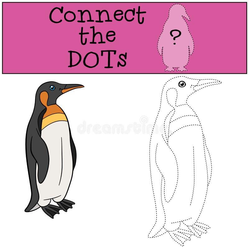 Воспитательная игра: Соедините точки Немногое милые улыбки пингвина иллюстрация вектора