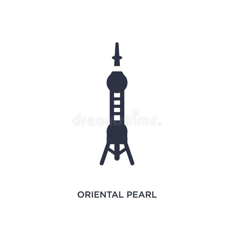 восточный значок башни жемчуга на белой предпосылке Простая иллюстрация элемента от азиатской концепции иллюстрация вектора