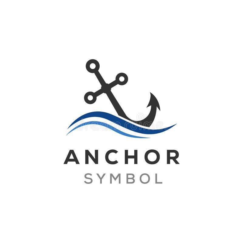 Воодушевленности дизайнов логотипа анкера и океанской волны иллюстрация вектора