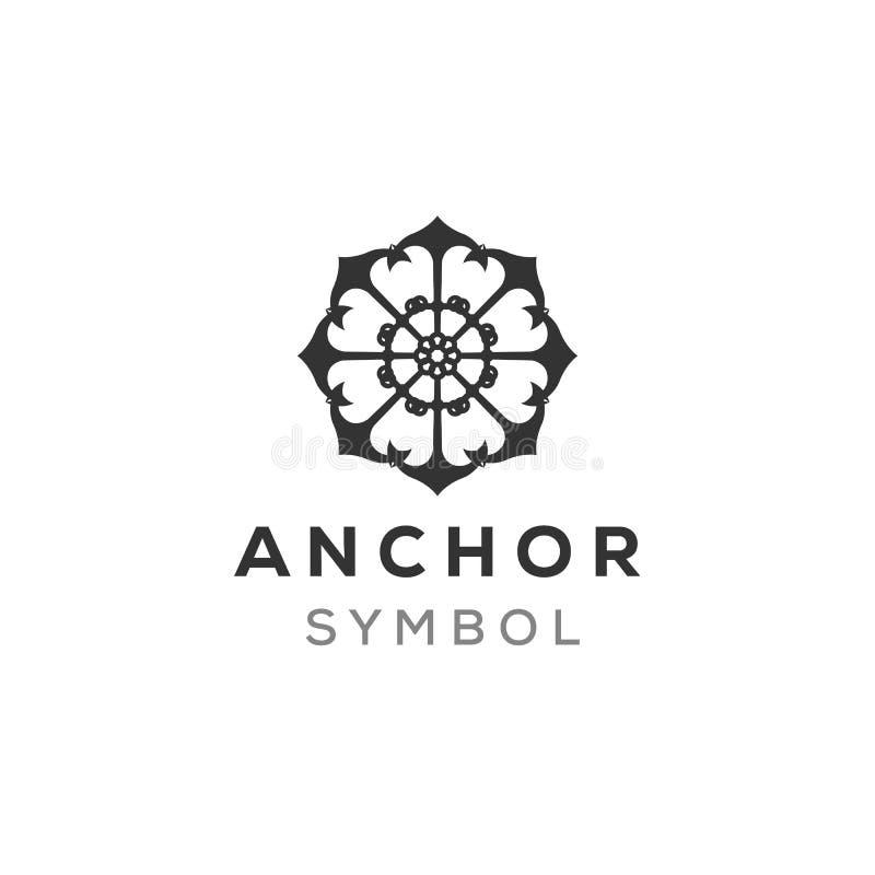 Воодушевленность дизайна логотипа анкера мандалы, зрелая концепция логотипа иллюстрация вектора