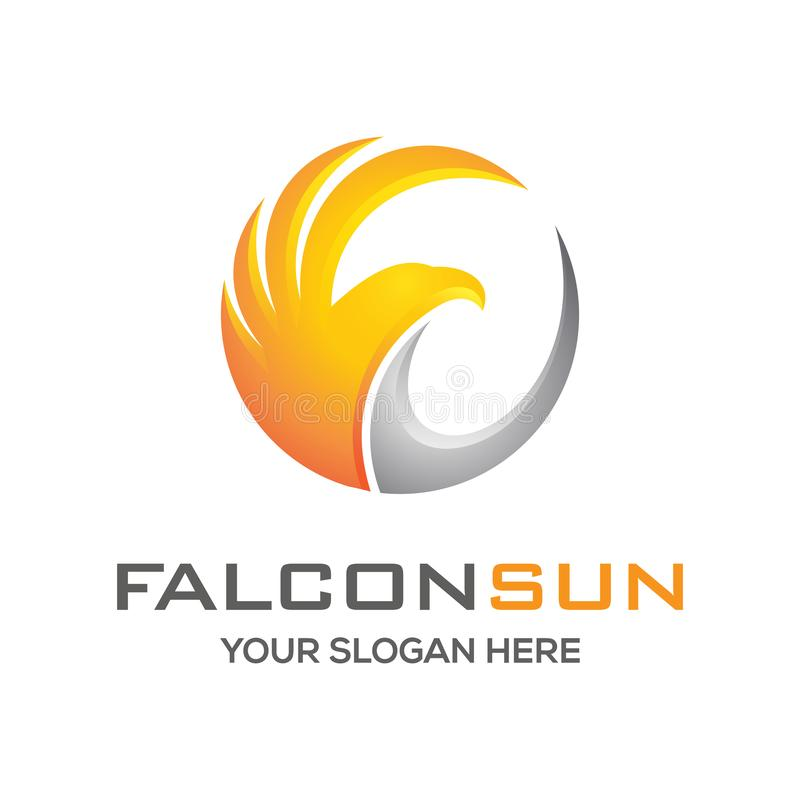 Воодушевленность дизайна логотипа солнца сокола бесплатная иллюстрация