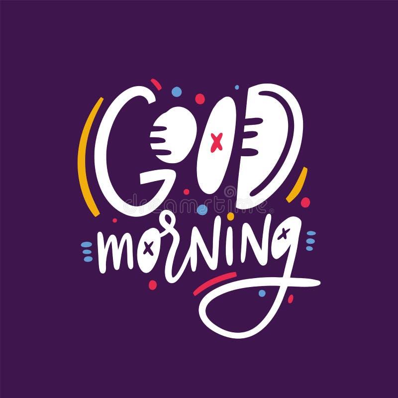 Воодушевленность доброго утра закавычит помечать буквами Изолированный на фиолетовой предпосылке бесплатная иллюстрация