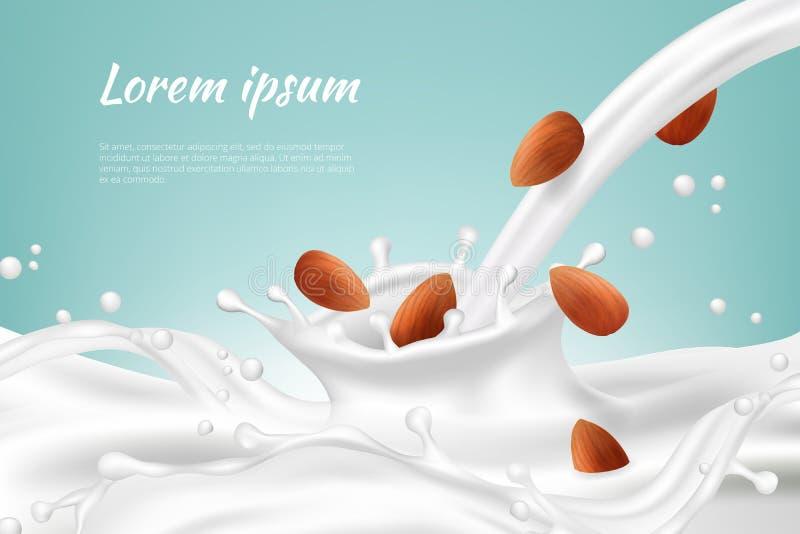 Гайки в молоке Напиток протеина vegan сливк гайки напитков еды брызгает с предпосылкой вектора семени реалистической иллюстрация вектора