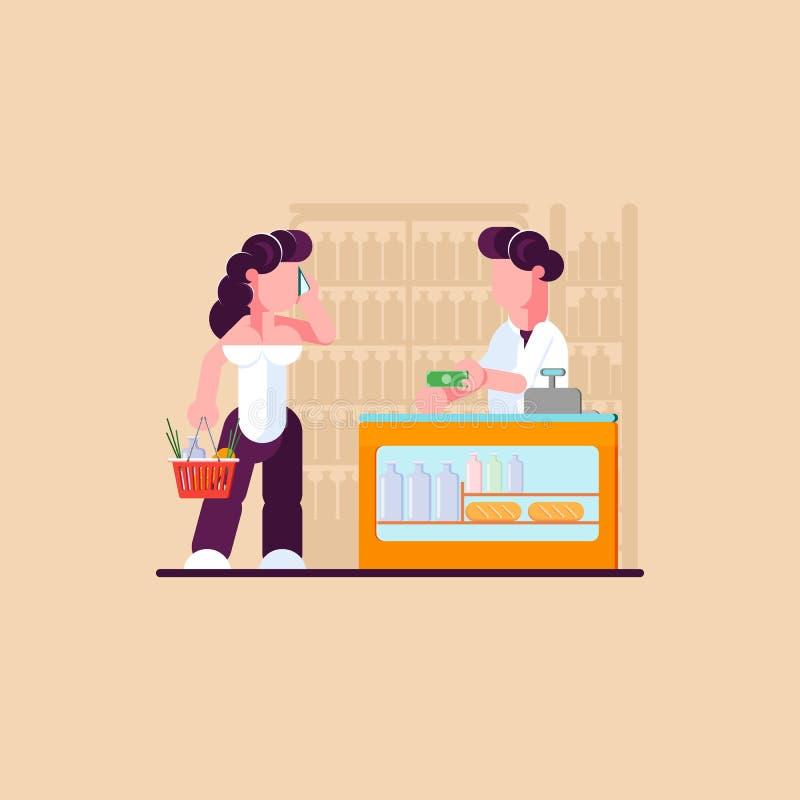 Гастроном ходя по магазинам женщина магазина владение домашнего ключа принципиальной схемы дела золотистое достигая небо к вектор иллюстрация вектора