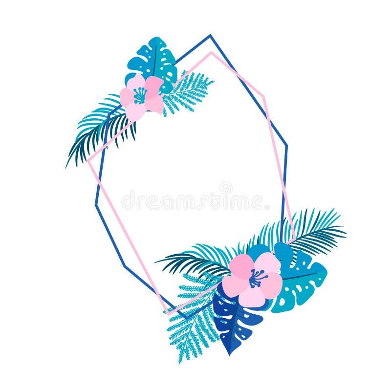 Геометрический венок лета с тропическим цветком ладони и место для текста Плоская рамка сада вектора конспекта травы венчание иллюстрация вектора