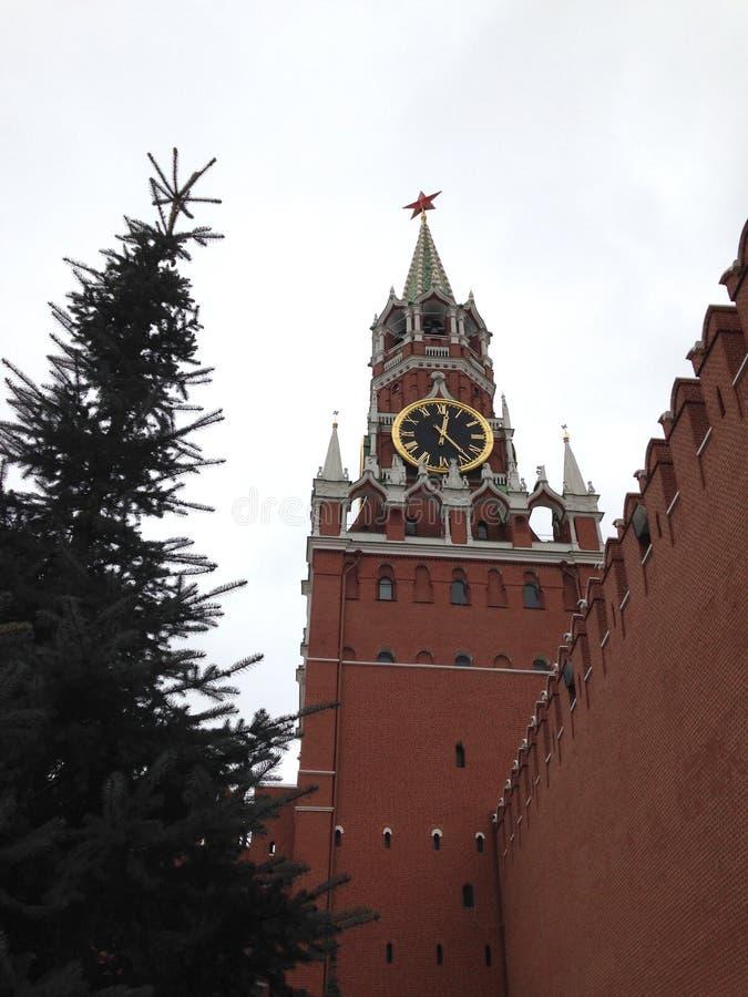 Главная башня Москвы Кремля с огромными час-перезвонами и стеной красного кирпича около высокой ели стоковые изображения rf
