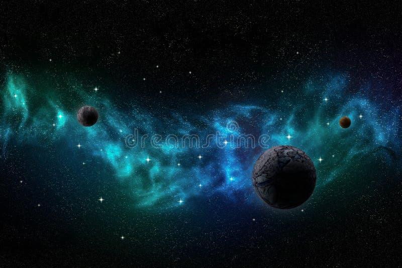 Глубокий ландшафт космического пространства с межзвёздным облаком, планетами и звездами бесплатная иллюстрация