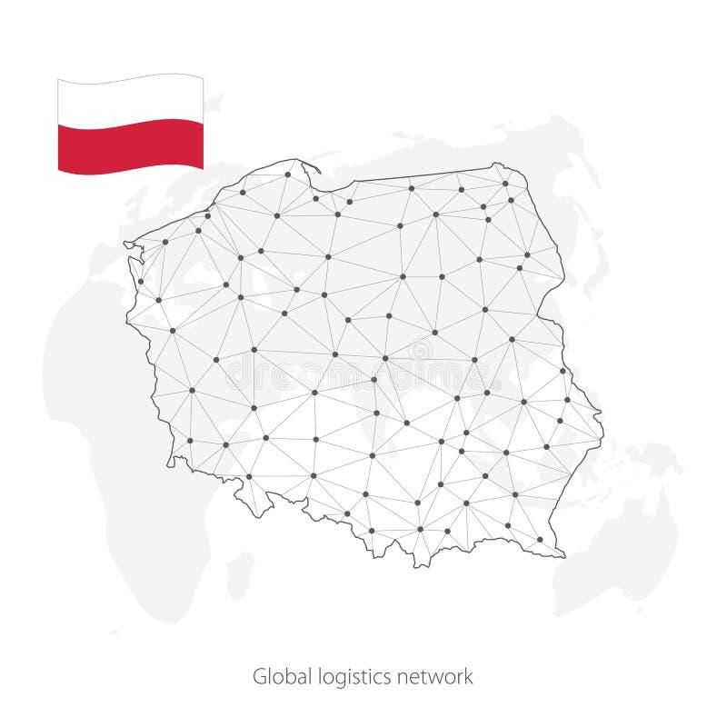 Глобальная концепция сети снабжения Карта сети Польша связей на предпосылке мира Карта Польши с узлами в полигональном бесплатная иллюстрация