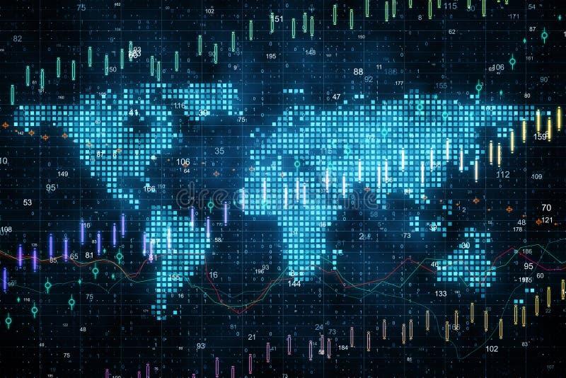 Глобальная концепция торговлей и маклером иллюстрация вектора