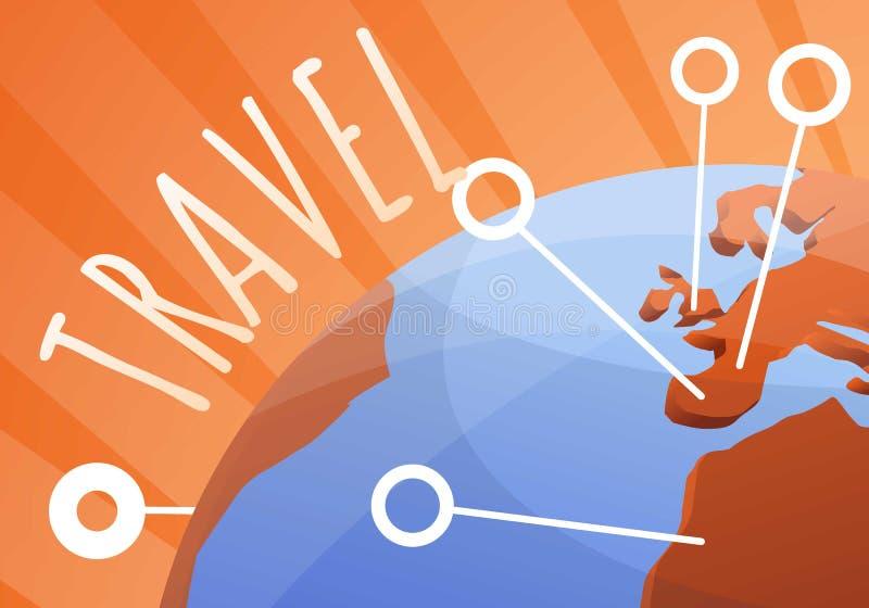 Глобальное знамя концепции перемещения, стиль мультфильма иллюстрация штока