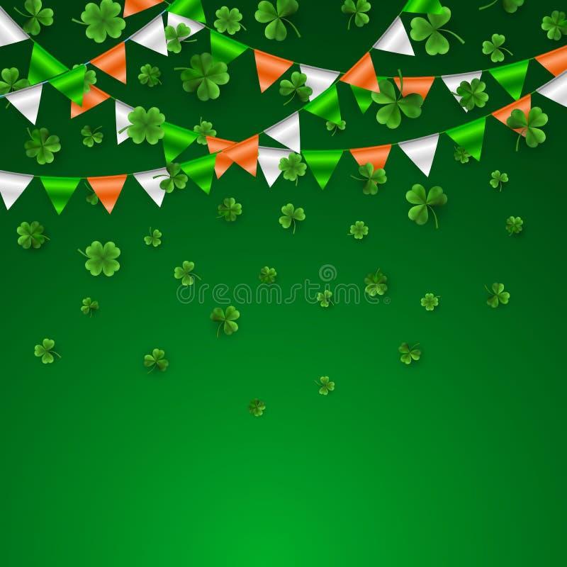 Граница дня St. Patrick с зеленые 4 и дерево 3D листают клевера с гирляндой флагов Ирландские символы удачливых и успеха вектор бесплатная иллюстрация