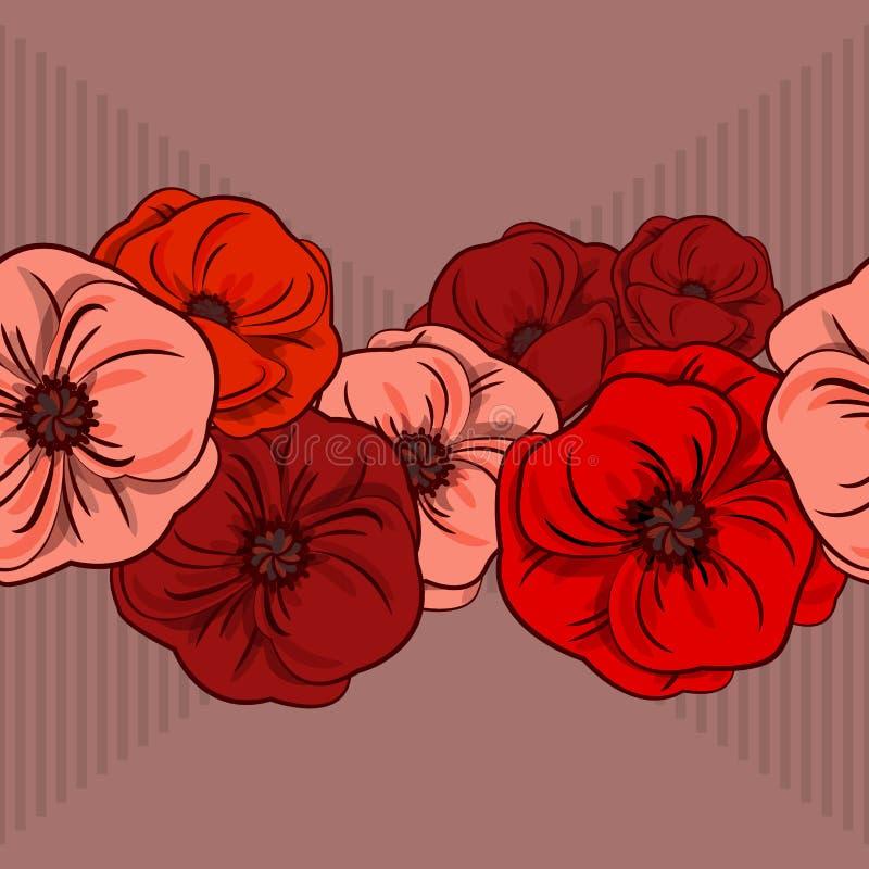 Граница с цветками, яркая художественная ботаническая иллюстрация вектора безшовная, изолированные флористические элементы Маки ц иллюстрация вектора