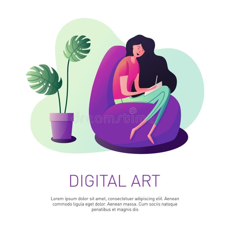 График-дизайнер женщины иллюстрация вектора