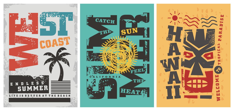Графические дизайны футболки лета бесплатная иллюстрация