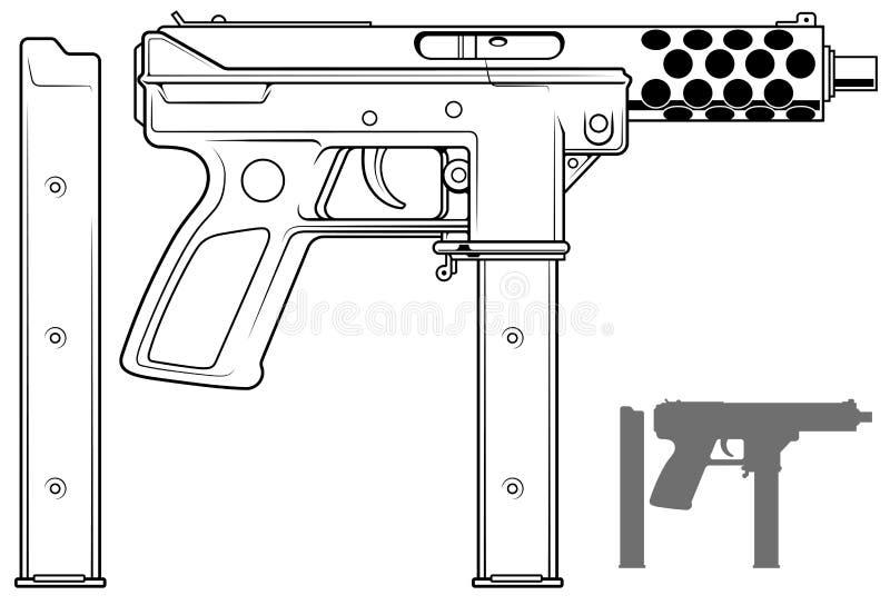 Графический пистолет-пулемет с зажимом боеприпасов иллюстрация вектора