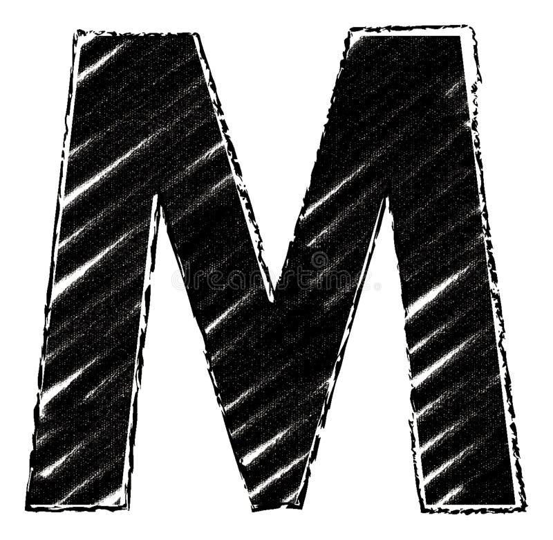 Графическое письмо со стилем brushstroke письмо m иллюстрация вектора
