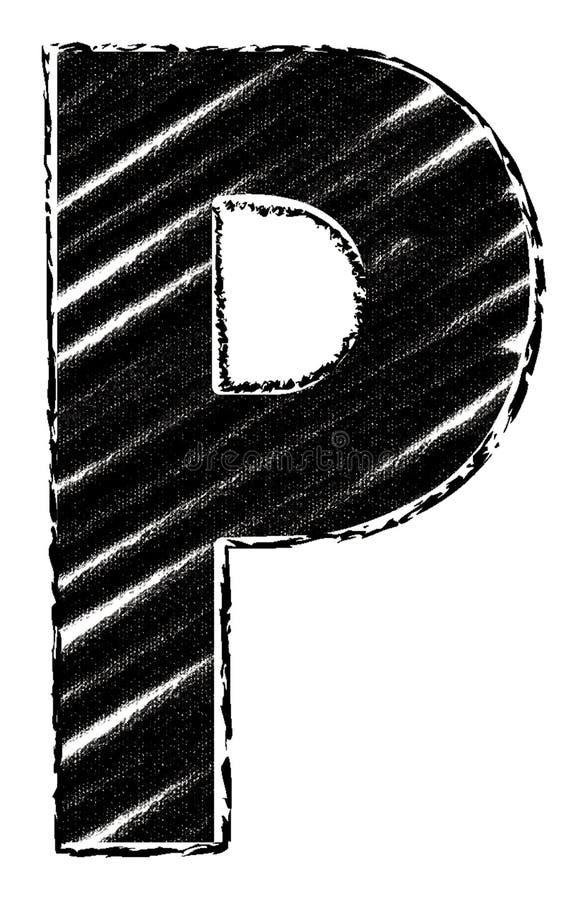 Графическое письмо со стилем brushstroke письмо p иллюстрация вектора