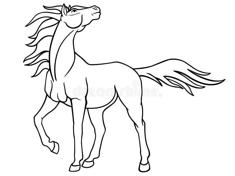 Грациозная конематка с длинной гривой Изображение с гордой лошадью для красить Фантастический жеребец Линейное изображение бесплатная иллюстрация