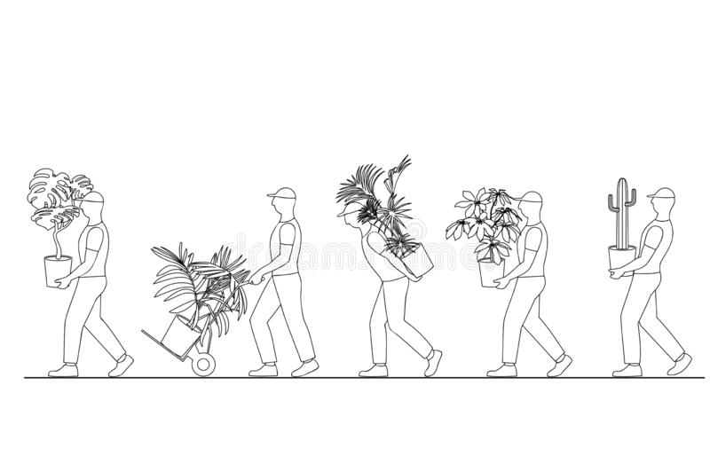 Vector illustration of a linear silhouette of a group of workers carrying houseplants in pots, moving to a new house, movi royalty free illustration