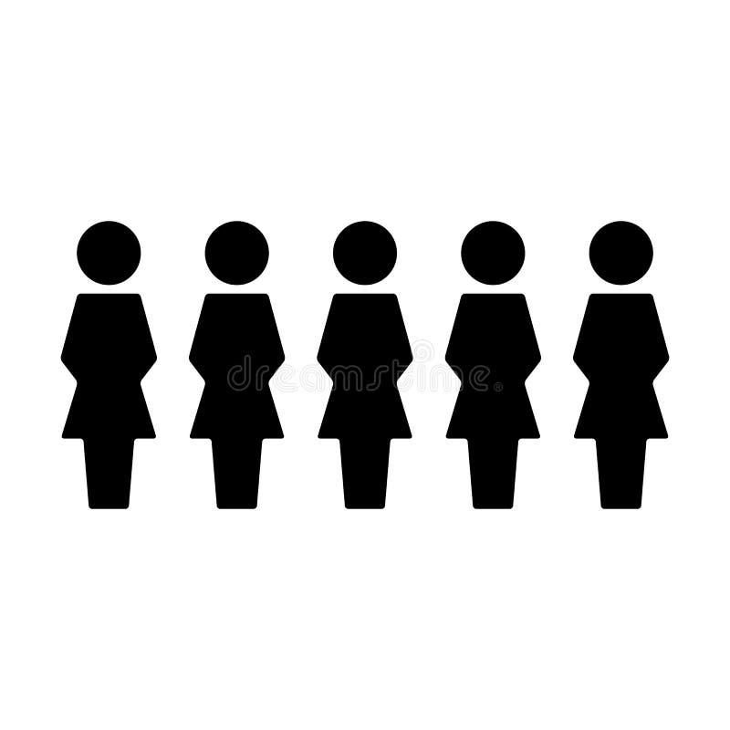 Группа в составе вектора значка людей женская воплощение символа людей для руководящей группы руководства бизнесом в плоской пикт бесплатная иллюстрация