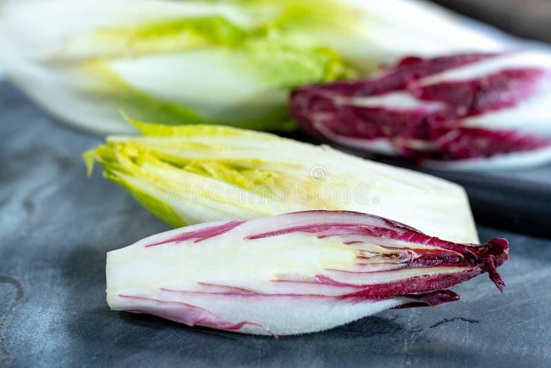 Группа в составе свежие зеленые бельгийский эндивий или цикорий и красные овощи Radicchio, также известная как salade witlof стоковая фотография