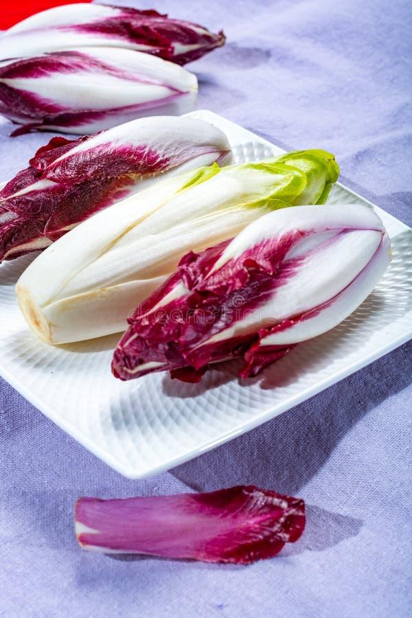 Группа в составе свежие зеленые бельгийский эндивий или цикорий и красные овощи Radicchio, также известная как salade witlof стоковая фотография rf