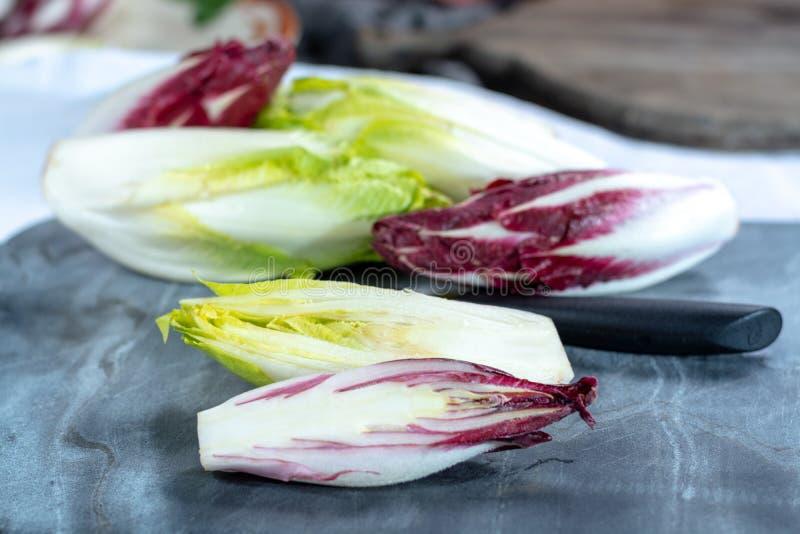 Группа в составе свежие зеленые бельгийский эндивий или цикорий и красные овощи Radicchio, также известная как salade witlof стоковые изображения rf