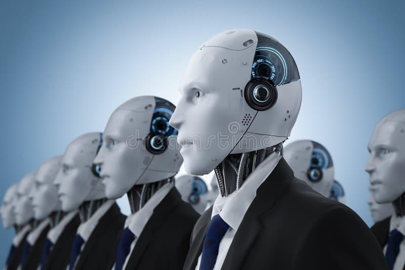 Группа в составе робототехнический бизнесмен иллюстрация штока