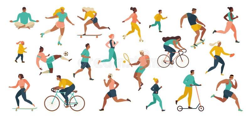 Группа людей осуществляя деятельности при спорт на парке делая тренировки йоги и гимнастики, jogging, ехать велосипеды, играя шар бесплатная иллюстрация