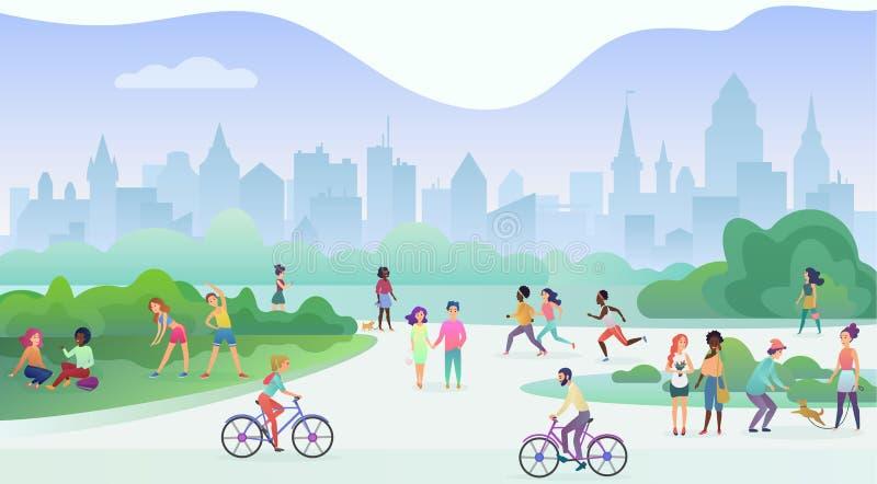 Группа людей осуществляя деятельности при спорт на парке Делать тренировки гимнастики, jogging, говорить и идти, едущ бесплатная иллюстрация