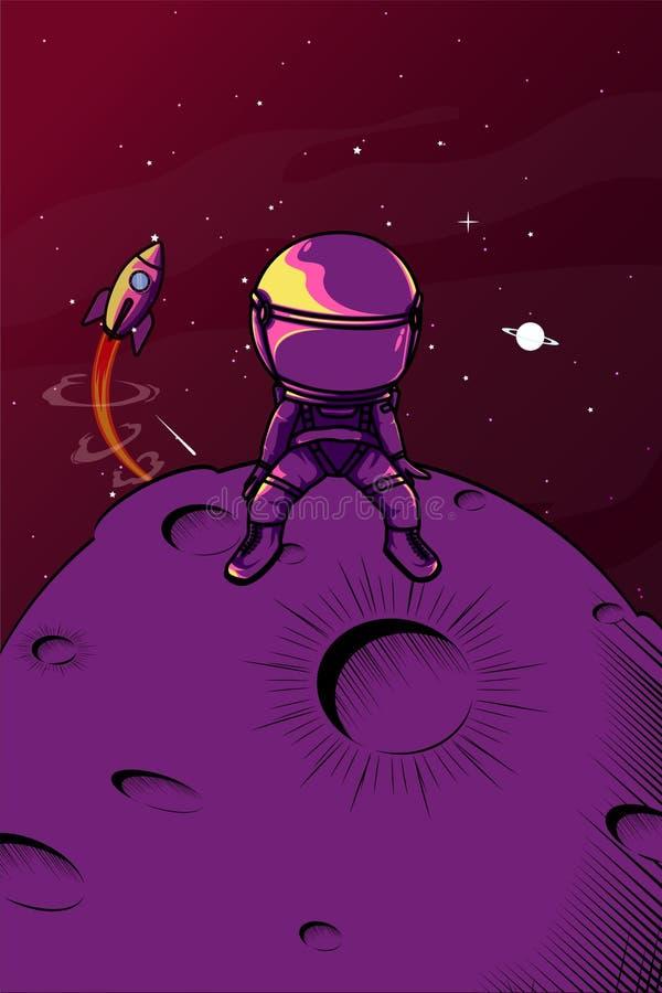 Грустная иллюстрация астронавта иллюстрация вектора