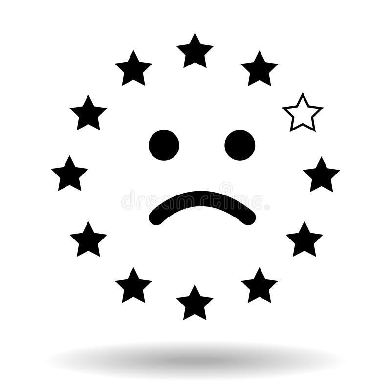 Грустная smiley сторона, сделанная флага Европейского союза Представление несчастной стороны от звезд eu с одной пропуская звездо иллюстрация вектора