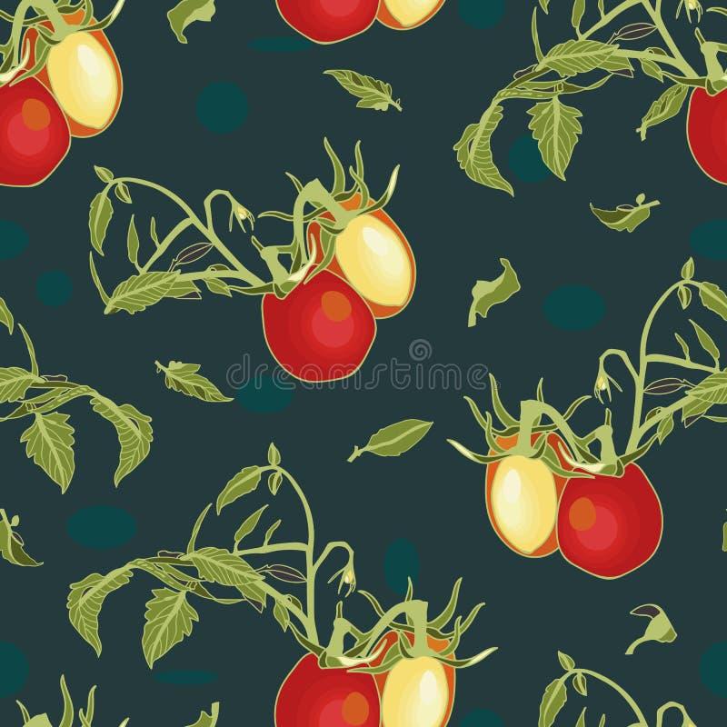 Голубая картина с tomatoe и заводом иллюстрация вектора