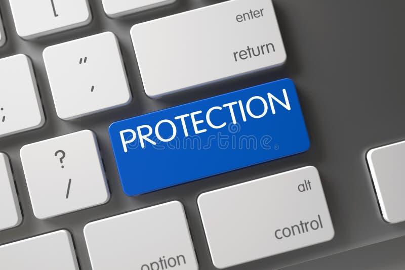Голубая кнопка защиты на клавиатуре 3d представляют иллюстрация штока