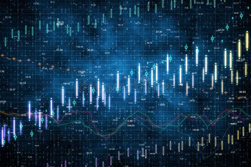 Голубая предпосылка диаграммы валют иллюстрация вектора