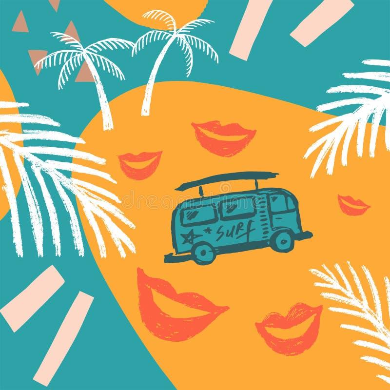 Голубая предпосылка с пальмами и шаблоном автобуса иллюстрация штока