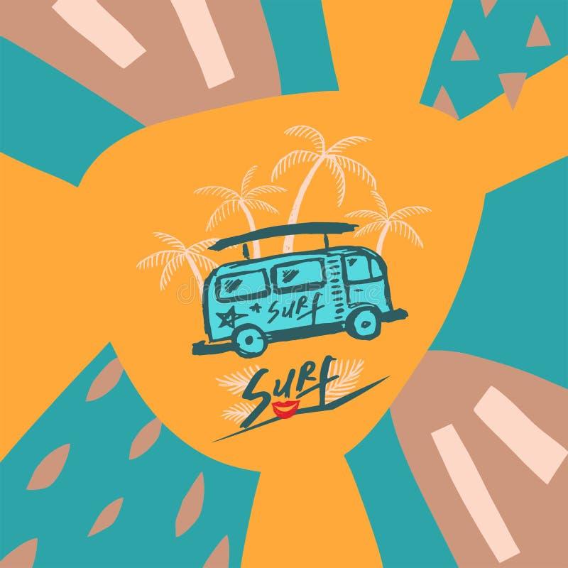 Голубая предпосылка с пальмами и шаблоном автобуса бесплатная иллюстрация